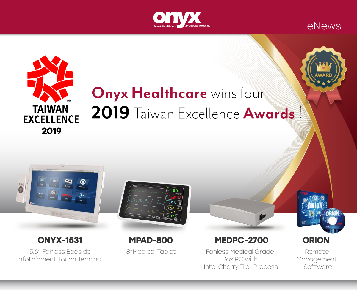 Onyx Healthcare wins four  2019 Taiwan Excellence Awards !