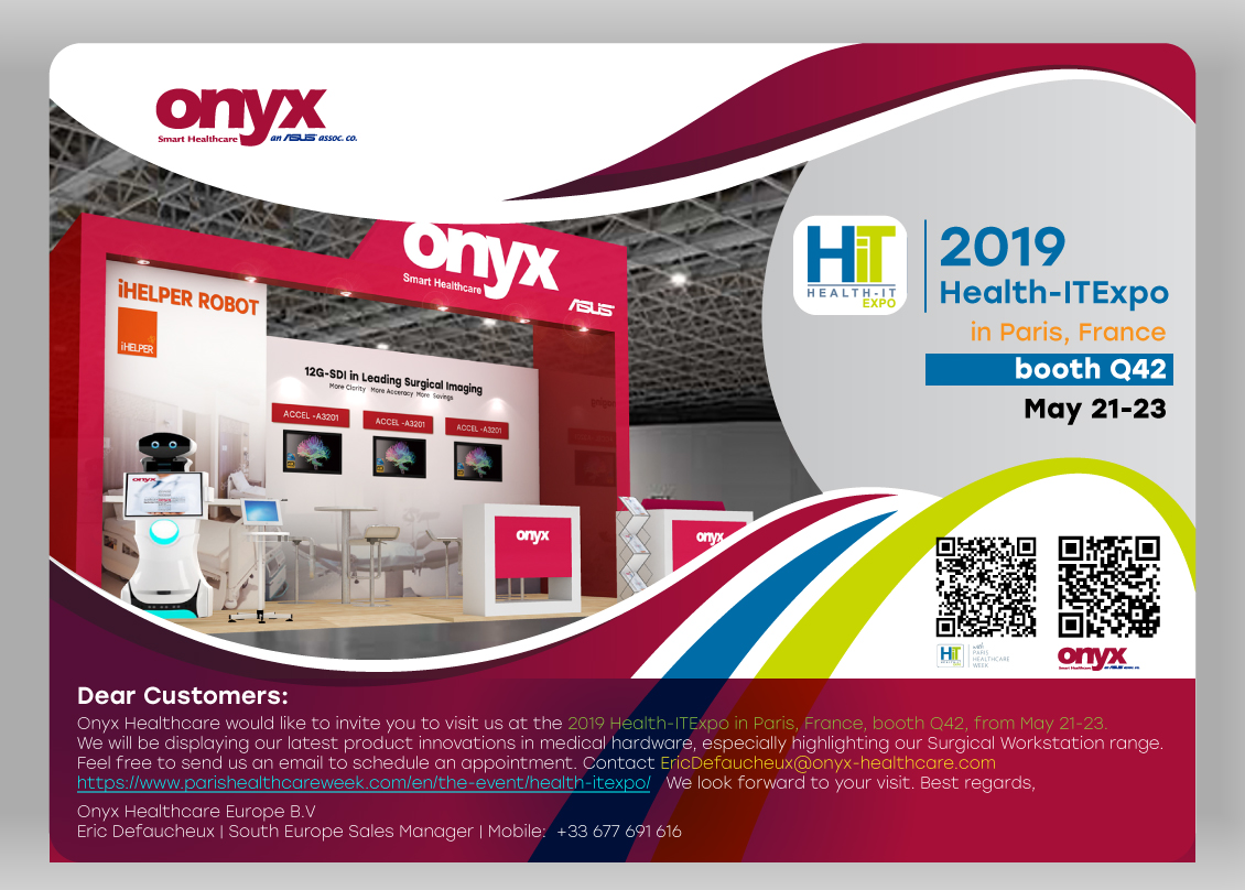 2019 Health-ITExpo in Paris, France, booth Q42, from May 21-23.