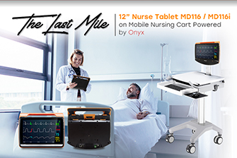 "12"" Nurse Tablet MD116 / MD116i on Mobile Nursing Cart powered by Onyx – The Last Mile"